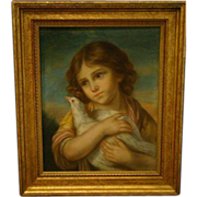 Antique pastel painting of young girl holding a dove