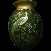 Steuben Aurene acid cut back Birds #2 vase lamp base