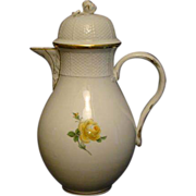 Meissen yellow rose porcelain coffee pot coffeepot crossed swords