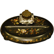 Antique black lacquered papier mache mother of pearl inkwell
