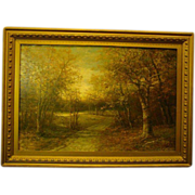 Antique American woods landscape oil painting on canvas