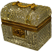 Antique French dome top crystal casket box trunk shape