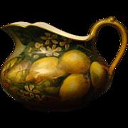 Limoges hand painted lemons lemonade pitcher William Guerin