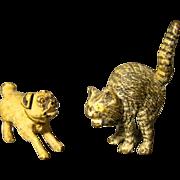 SALE PENDING Austrian pair bronze miniature cold painted sculptures pug dog and cat