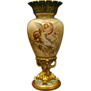 Vienna Austria large hand painted beehive vase Psyche cupids and chariot