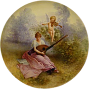 SOLD Jean Pouyat Limoges hand painted woman and cupid charger tray GORGEOUS