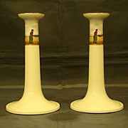 SOLD Lenox hand painted Dutch sailing ships pair candlesticks RESERVED FOR MRS LH - Red Tag Sa