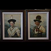 SALE German man woman pair portrait oil paintings M Heidemann