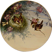 SOLD Hand painted charger plaque birds in nest J Gillespie & Co