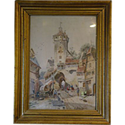 European village watercolor painting by G Tehrnickel late 1800's