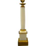 White opaline glass tall column lamp