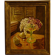 Still life oil painting fruit in vaseline glass compote
