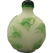 Peking cameo glass cranes herons in flight carved snuff bottle