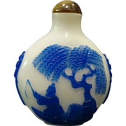 Peking cameo glass blue fisherman on lake carved snuff bottle