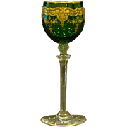 Moser green and gold ornate floral tall stem goblet