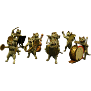 Vienna Austrian bronze cold painted band orchestra cat musician sculptures