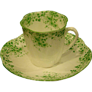 Shelley green Dainty demitasse cup and saucer