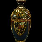 Antique cloisonne goldstone vase phoenix birds and dragons