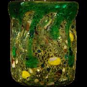 Murano Venetian Italian grotesque art glass vase lava drippings