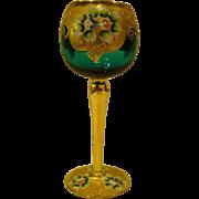 Venetian art glass tall enameled gilded floral goblet stem