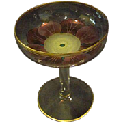 Theresienthal Bohemian Czech art glass floral compote tazza
