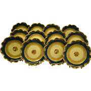 Crescent China George Jones set of twelve painted floral porcelain plates
