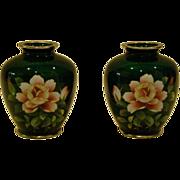 Japanese Ginbari cloisonne  pair matching green roses vases
