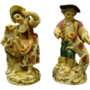 Meissen porcelain antique pair figurines boy and girl dog and sheep