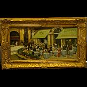 SOLD Francesco Tammaro impressionist Italian street scene sidewalk cafe oil painting