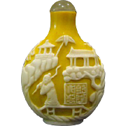 Peking cameo glass snuff bottle yellow white scenic pagodas figures
