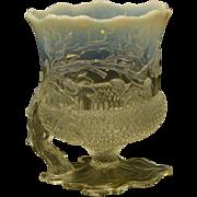 White opalescent glass oak leaf acorn vase