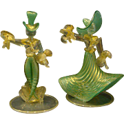 SALE PENDING Murano Italian art glass pair man woman dancers figurines figures
