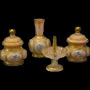 Antique pink opaline glass enamel cupid dresser set jars vase ring holder