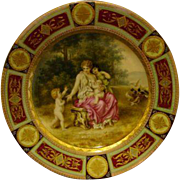 Royal Vienna portrait plate unusual scene woman three children bird beehive mark