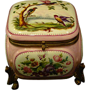 French porcelain hand painted bird and flower dresser box antique