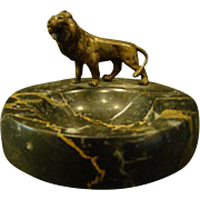 Austrian bronze and marble lion pin tray dish marked