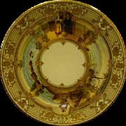 SOLD Dresden porcelain hand painted gilt scenic plate Der Fliegende Hollander