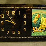 Russian lacquer box clock Mstera