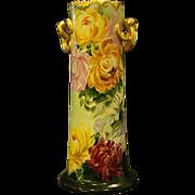 SALE Austrian tall hand painted chrysanthemum handled vase