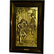 German silverplate large framed plaque with courting scene