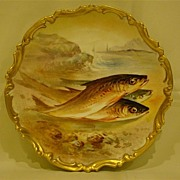 SALE Limoges hand painted charger fish ocean side