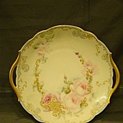 SOLD Limoges T&V hand painted roses handled cake plate