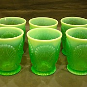 SALE Dugan green opalescent set of six Beaded Shell tumblers