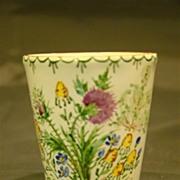 SALE Austrian enamel floral vase or beaker