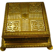 Huge gilt and silvered bronze jewelry box or casket