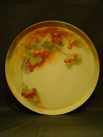 Limoges large hand painted cherries round serving tray