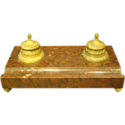 French large bronze and rouge marble double inkwell