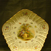 SALE Dresden large hand painted portrait charger with courting scene