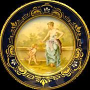 Austrian hand painted portrait plate maiden and cupid Franz Dorfl