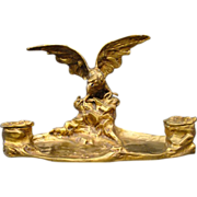 French bronze figural eagle double inkwell by A Marionnet
